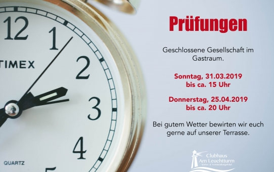 Geschlossene Gesellschaft im Gastraum am 31.03.2019 und am 25.04.2019